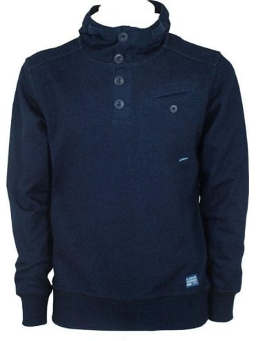 G-Star Anchor Hooded Grandad Sweat - Navy