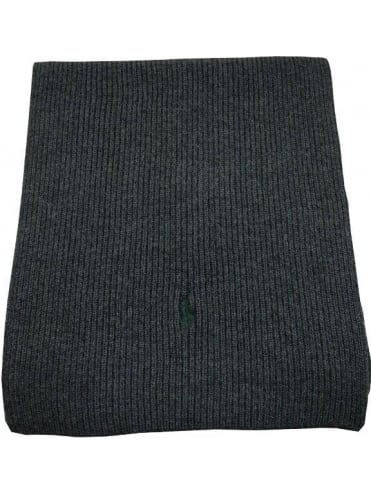 Polo Ralph Lauren Accessories Merino Wool Rib Scarf - Dark Grey