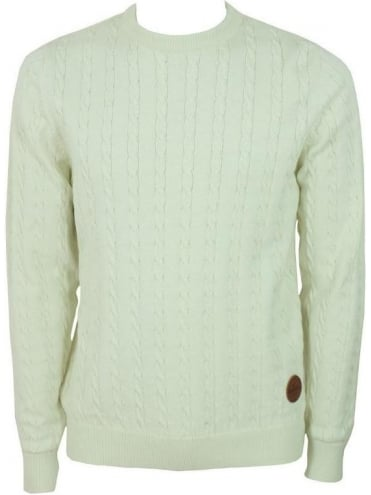 Voi Jeans Twist Cable Knit Jumper - Egret