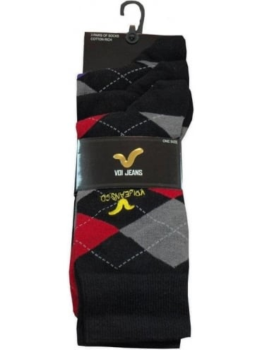Voi Jeans 3 Pack Socks - Red