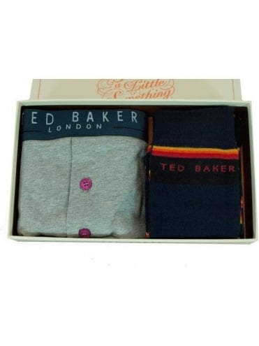 Ted Baker Accessories Calisto Boxers and Sock Set - Grey Marle