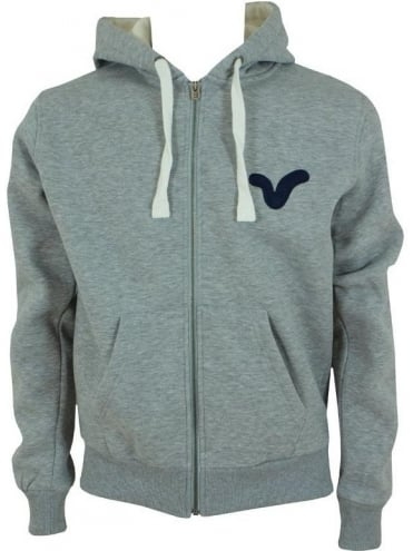 Voi Jeans Wintery Num Zip Hooded Sweat - Light Grey