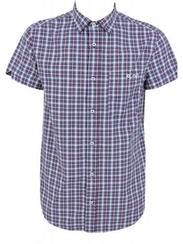 Armani Jeans Short Sleeve Check Shirt - Navy/Red
