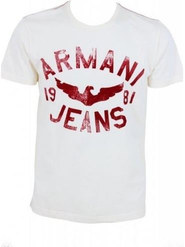 Armani Jeans Distressed Logo T.Shirt - White