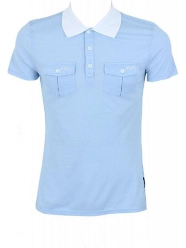 Armani Jeans Twin Pocket Solid Collar Polo - Blue Light