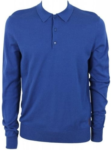 Ben Sherman Mod Fit Long Sleeve Polo - Blue
