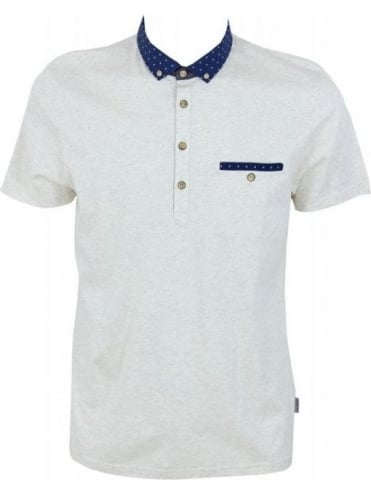 Ted Baker Thedeal Boat Woven Collar Polo - Natural