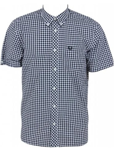 Fred Perry Short Sleeve Gingham Shirt - Black