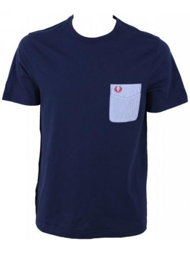 Fred Perry Woven Pocket T.Shirt - Dark Carbon