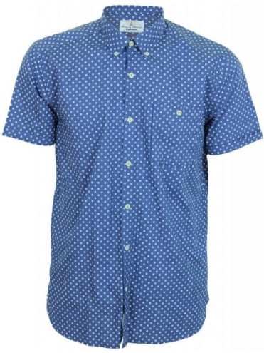 Barbour Spot Print Short Sleeve Shirt - Navy