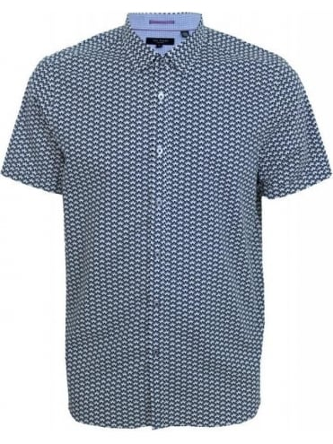 Ted Baker Daylite Geo Printed S/S Shirt - Navy