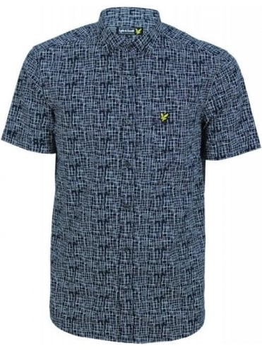 Lyle and Scott Etch Print S/S Shirt - Navy
