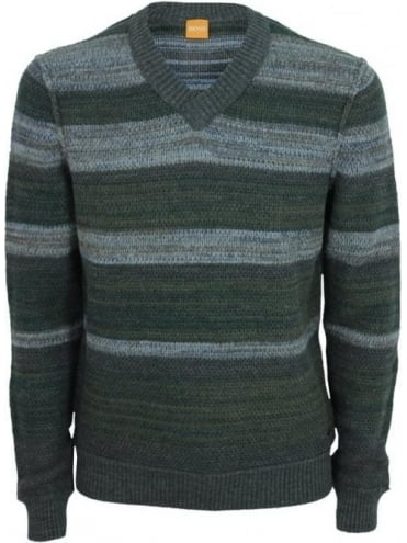 Kanye Striped Vee Neck Knit - Medium Brown