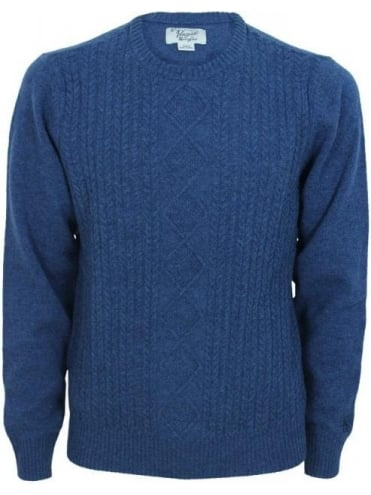 Penguin Dour Cable Crew Neck Knit - Dark Denim