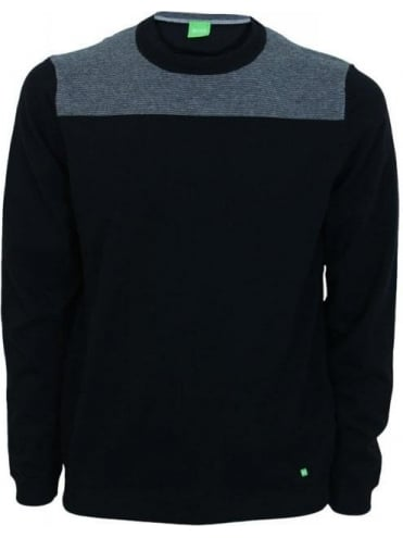 Rall Crew Neck Panel Knit - Black