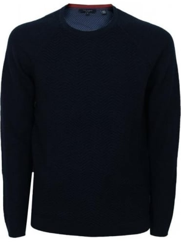 Ted Baker Firsty Textured Crew Neck Knit - Navy