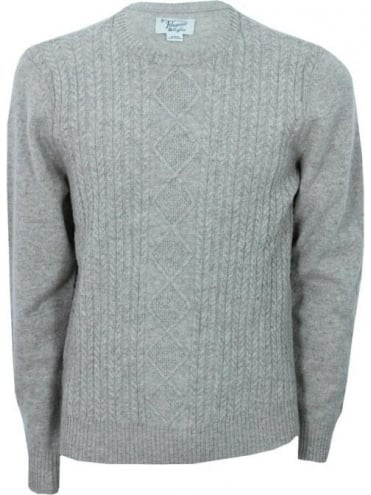 Penguin Dour Cable Crew Neck Knit - Silver