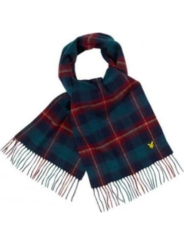 Lyle and Scott Woven Tartan Scarf - Navy