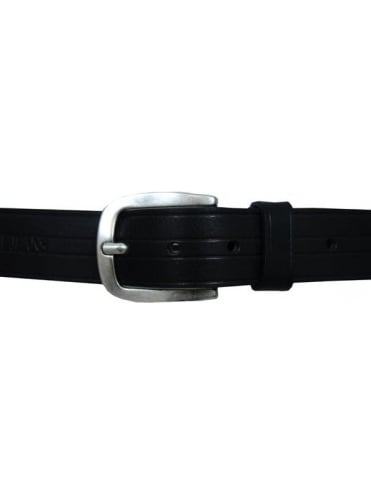 Debossed Branding Leather Belt - Black