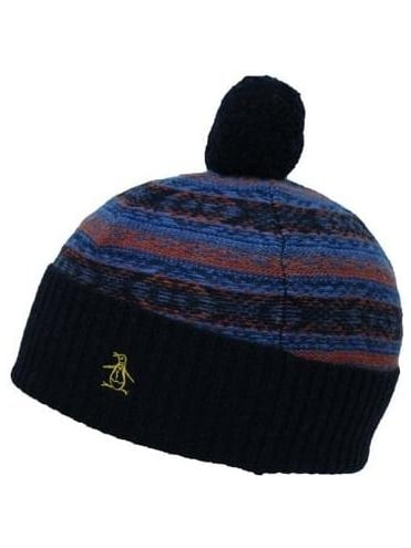Reverse Jaquard Bobble Hat - Night Shadow