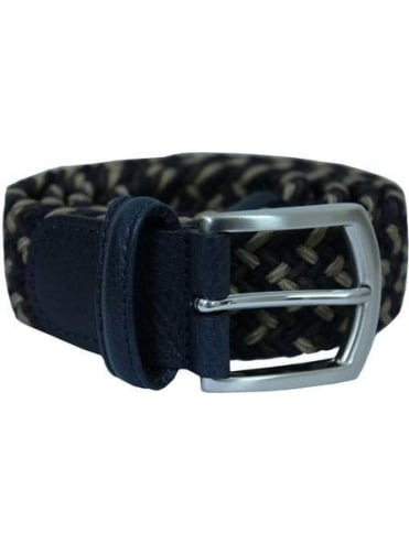 Woven Textile Belt - Navy/Brown