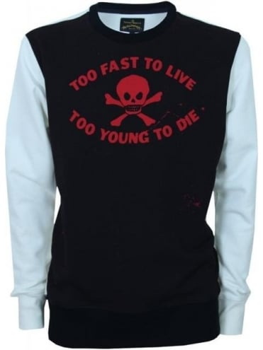 Too Fast To Live Sweat - Black/White
