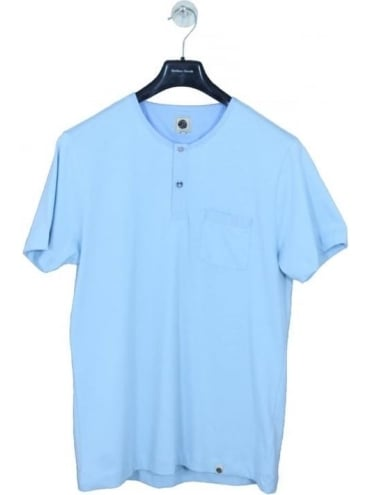 Pretty Green Bankhall Grandad T Shirt - Sky Blue