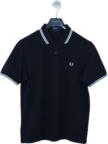 Slim Fit Twin Tipped Polo - Navy/White