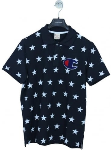 Star Print Oversized C Polo - Navy