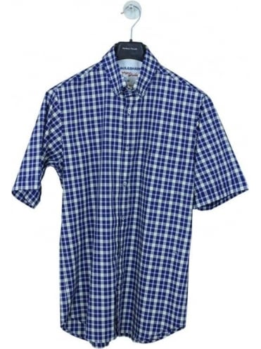 Paul and Shark Short Sleeve Check Shirt - Navy
