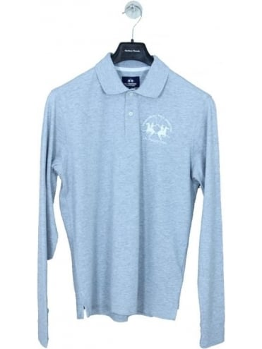 Logo Long Sleeve Polo - Light Grey