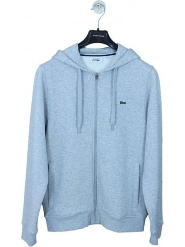 Hooded Zip Through Sweat - Silver