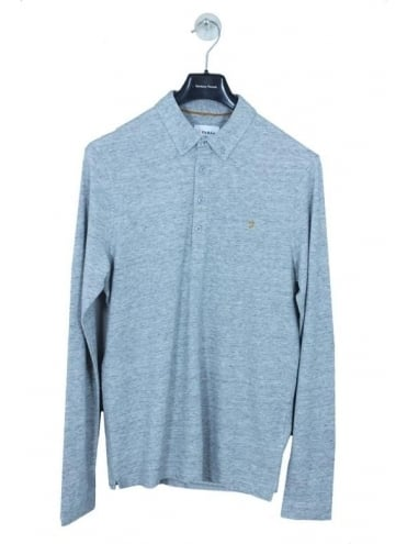 Farah Merriweather Long Sleeve Polo - Light Grey Marl