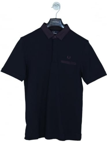 Oxford Trim Collar Pique Polo - Navy