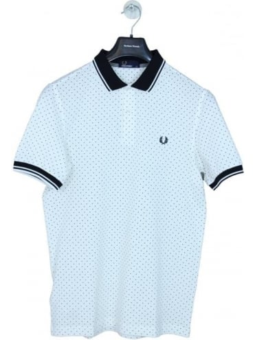 Printed Polka Dot Polo - Snow White