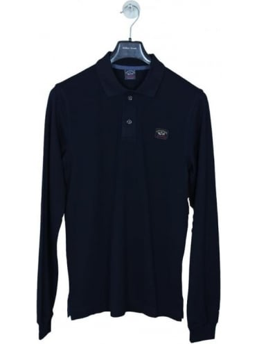 Long Sleeve Chest Logo Polo - Navy
