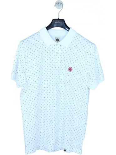 Pretty Green Polka Dot Polo - White