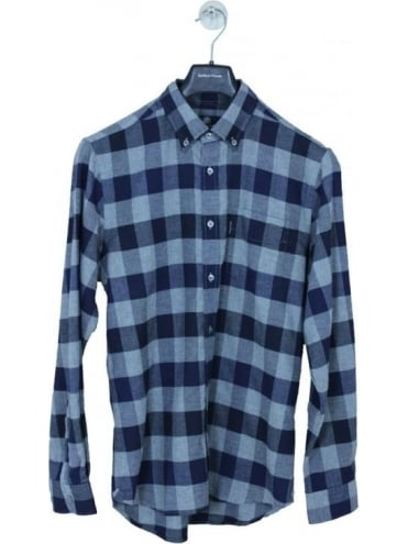 Aquascutum Marcus Large Scale Check Shirt - Navy