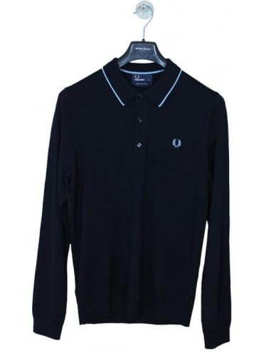 Fred Perry Fine Merino Knitted Polo - Navy