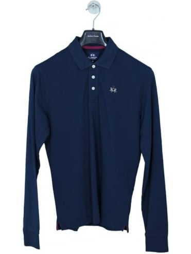 Manley Pique Stretch L/S Polo - Navy