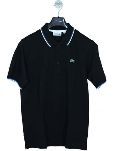 Tipped Collar Polo - Black