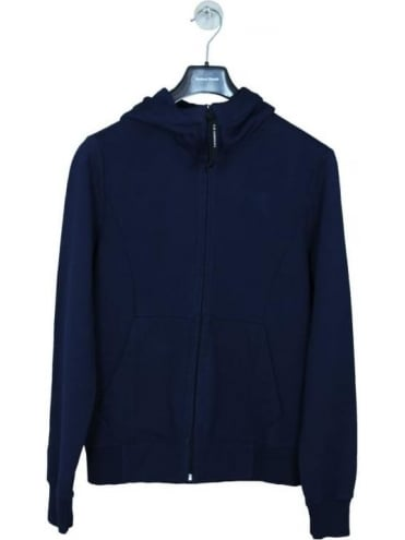 Zip Through Goggle Fleece Sweat - Navy