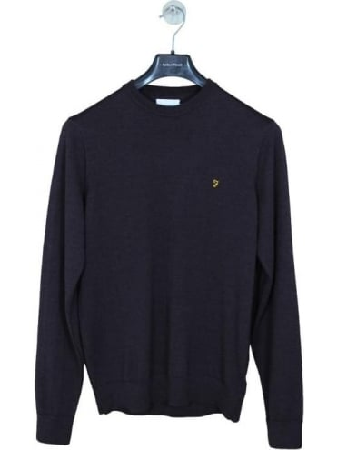 Farah Mullen Crew Neck Knit - Bordeaux