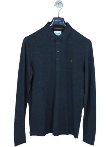 Farah Merriweather Long Sleeve Polo - Coal