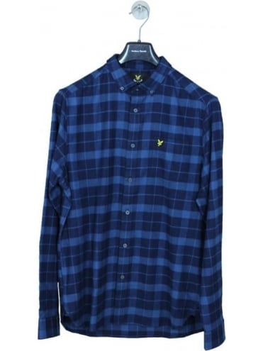 Lyle and Scott Check Flannel Shirt - Navy
