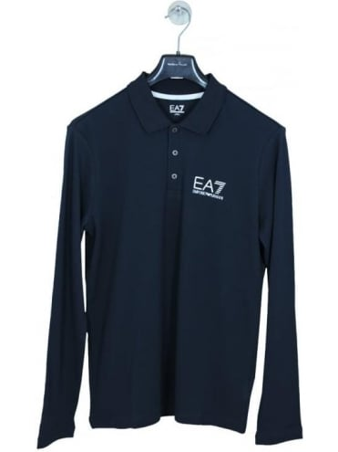 EA7 Long Sleeve Polo Shirt - Navy