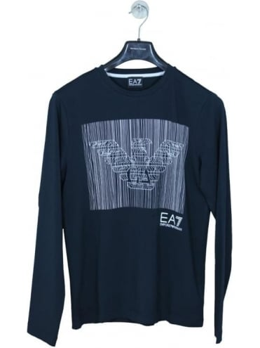 EA7 Long Sleeve Graphic T Shirt - Navy