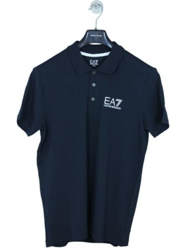 EA7 Branded Chest Logo Polo Shirt - Navy