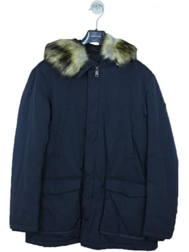 Armani Jeans Detachable Hooded Parka - Navy