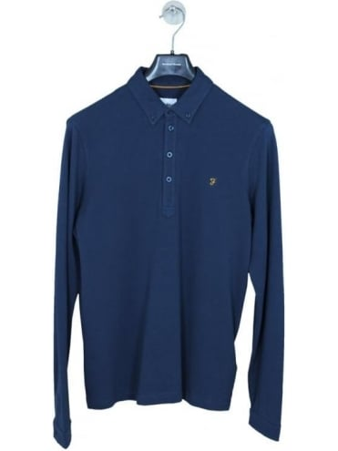 Farah Merriweather Long Sleeve Polo - Navy